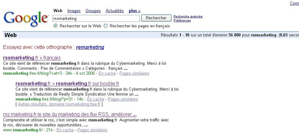 rss marketing numero 1 sur google